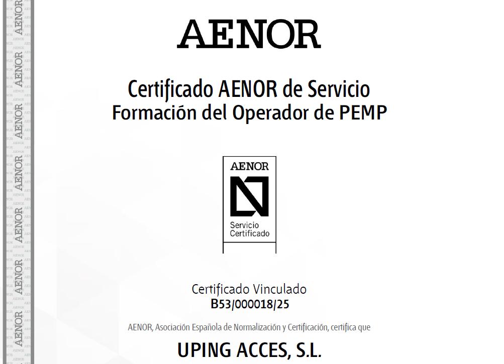 formacions uping_Certificado AENOR